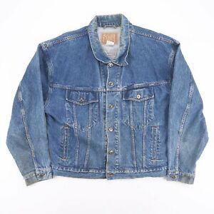 Bleu-Vintage-Travailleur-occasionnel-Trucker-Denim-Grunge-Veste-Taille-Homme-L