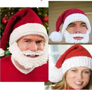 39b24a39a16 Christmas Santa Claus Mens Hat Beard Whiskers Hand Crochet Cap For ...