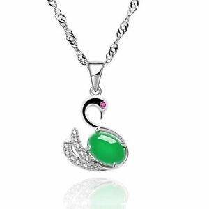 Damen-Elegant-925-Sterlng-Silber-Halskette-Schwan-Smaragd-Edelstein-Anhaenger-Neu