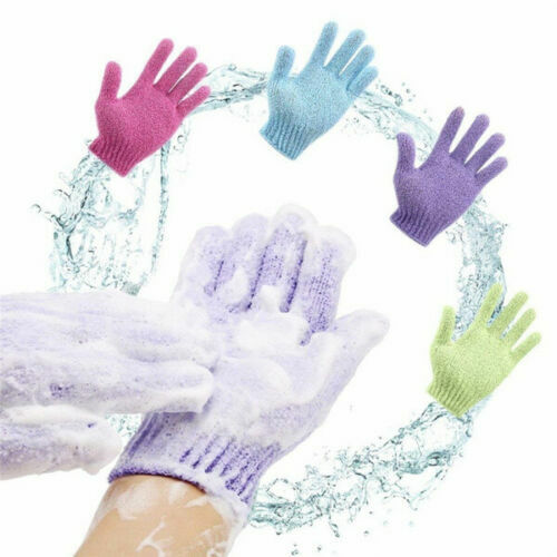 2 PAIR EXFOLIATING GLOVES Body Scrub Shower Bath Mitt Skin Massage Sponge Spa