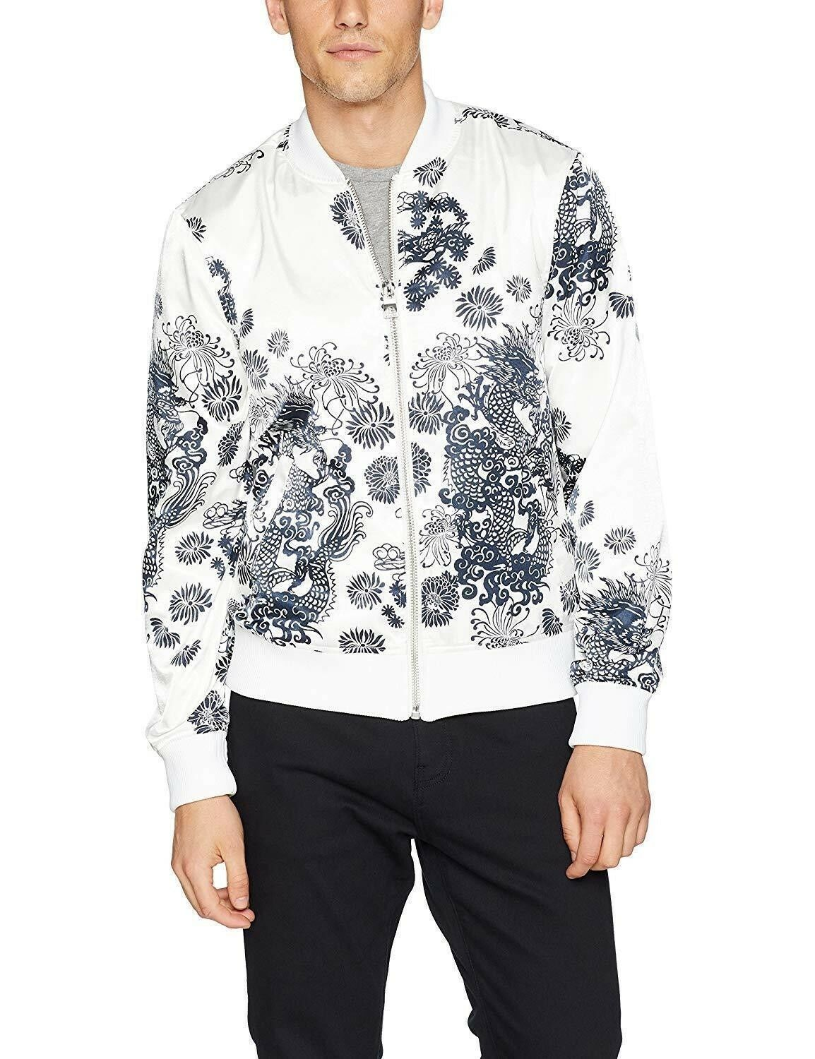 GUESS Men's Long Sleeve Katagami Scuffy Print Bomber, XL NEW W Tag