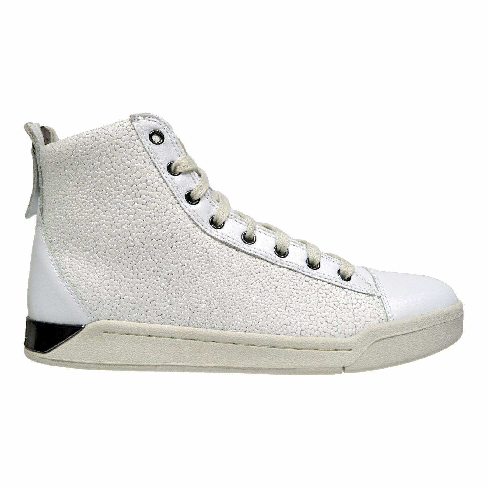 Diesel Diamond Men's High Top Leather Fashion Sneakers White