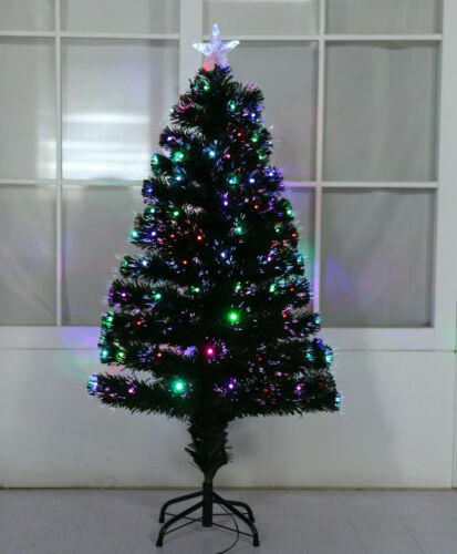 White Green Golden LED Xmas Tree Fibre Optic Christmas with Multicoloured Lights