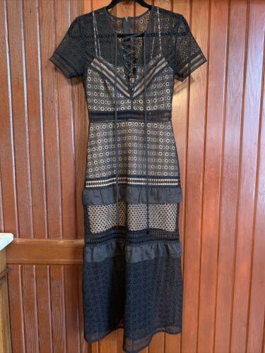 self-portrait black Cotton lace dress US 6