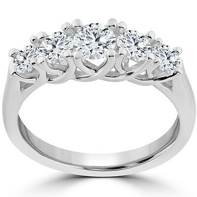 1 Ct 5-Stone Graduated Real Round Diamond Wedding Engagement Ring 14K White Gold
