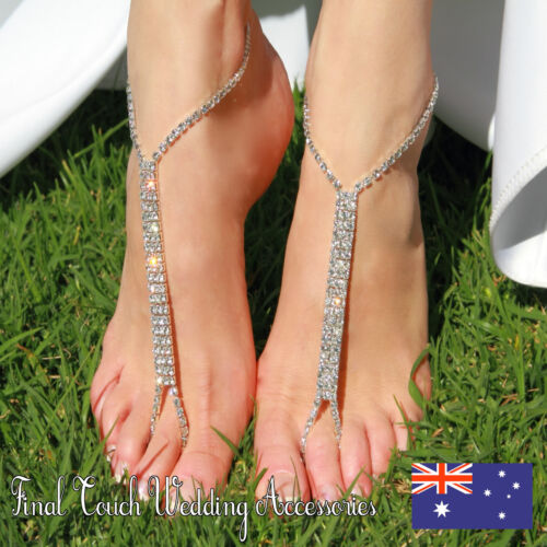 5 X Pairs barefoot beach sandals Bridal//wedding diamante anklet foot jewellery