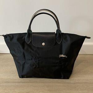 Details about Longchamp Le Pliage CLUB MEDIUM BLACK Nylon Short Leather Top  Handle Bag