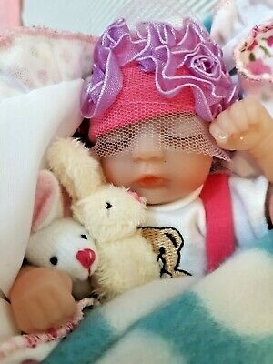 TINY MICRO PALM SIZED BABY GIRL 8 INCH WITH TINY BEAR AND RABBIT