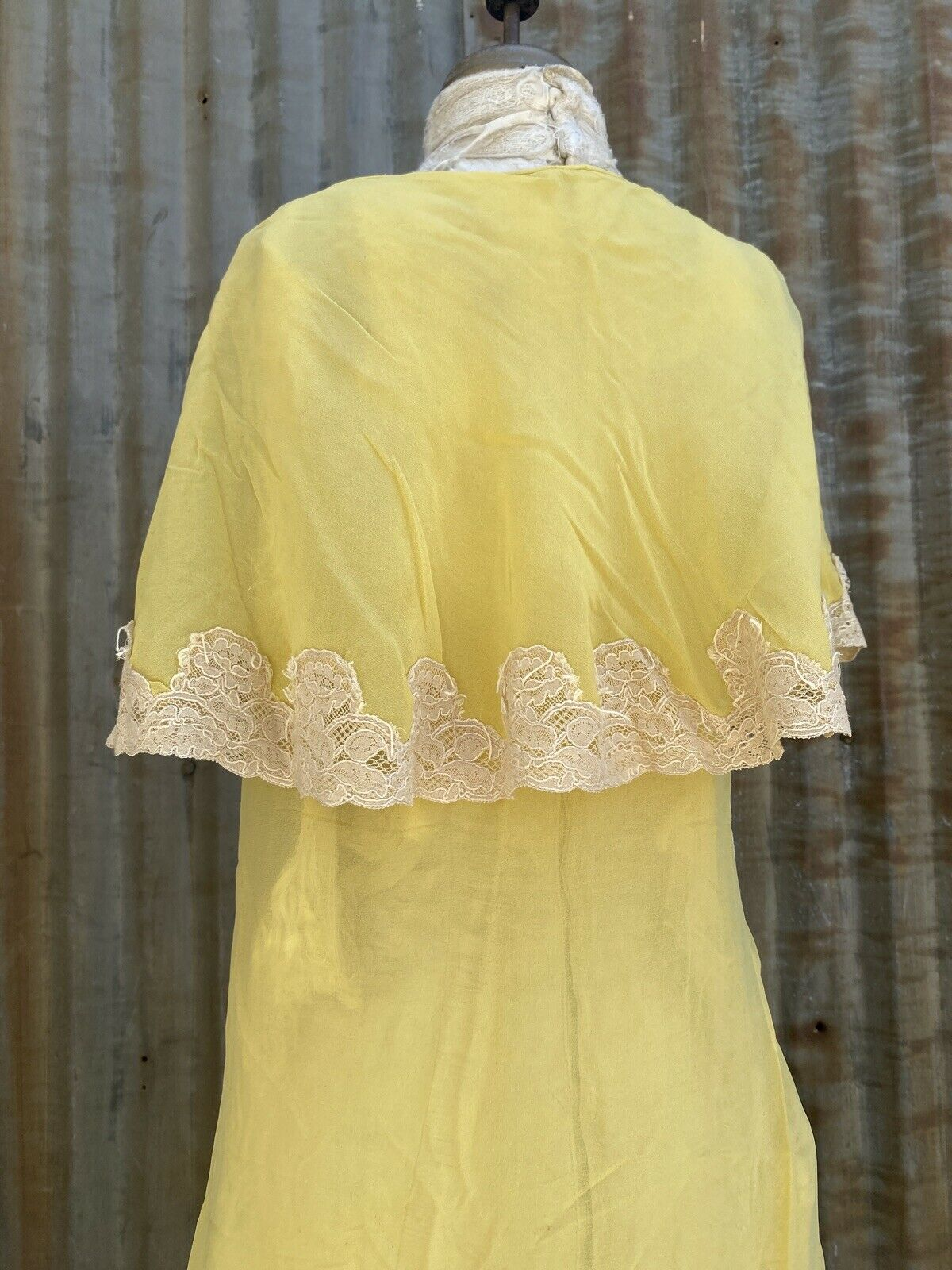 Antique 1920s 1930s Yellow Silk Chiffon Midi Dres… - image 11