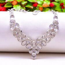 "Exciting White Topaz Handmade Gemstone Jewelry Necklace 18"" N-951"