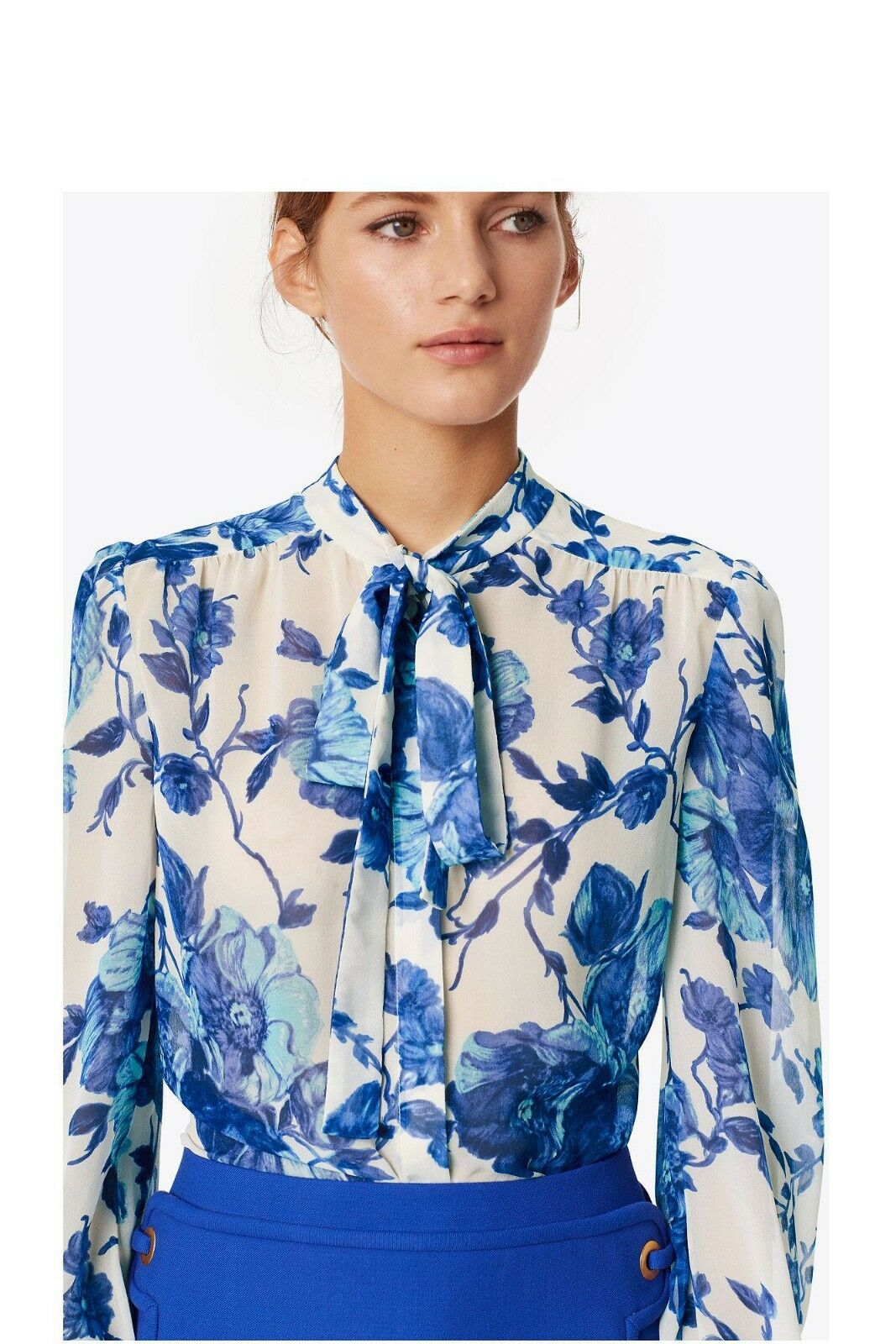 Tory Burch 6 Kia Bow Blouse Shirt S M pinkmont Floral Fall 2017 NWT Garden Party