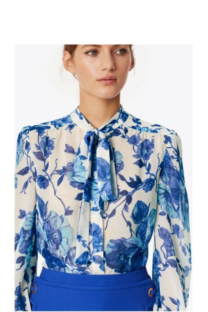 Tory Burch 0 Kia Bow Blouse Shirt XS Rosemont Floral Fall 2017 NWT Garden Party