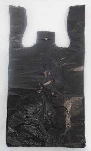 """Black Plastic T-Shirt Bags 1//10 Retail Shopping Bag Handles 8/"""" x 3.5/"""" x 15/"""""""