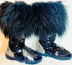 NEW-Sequined-Faux-Fur-Boots-Women-039-s-Mid-Calf-Winter-Boots-Size-Medium-7-8