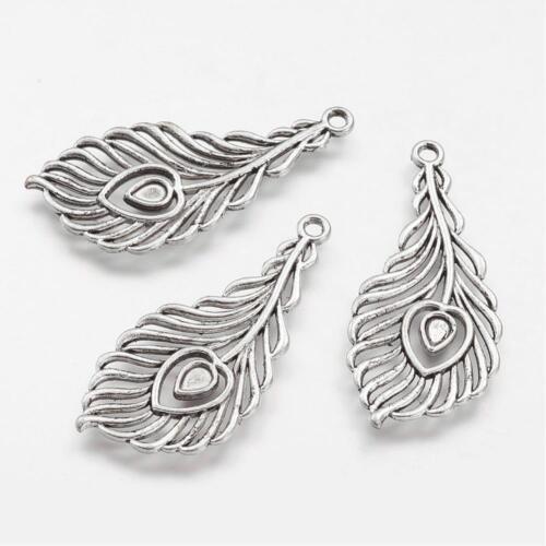 1517 3 Pièce pendentif breloques chaînes plumes antique argent