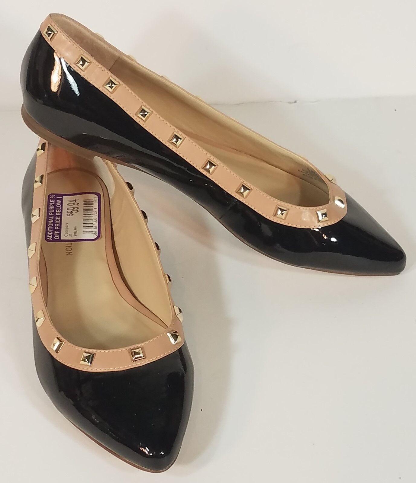 NWT BCBGeneration black patent studded flats slip on dress shoes ladies size 6