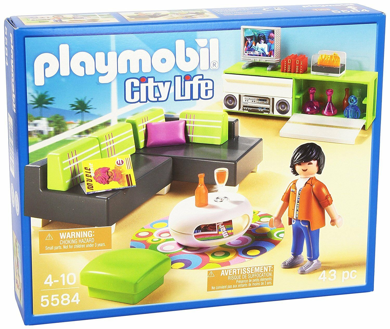 Nuovo PLAYMOBIL Set No. 5584 City Life  Modern Living Room Set