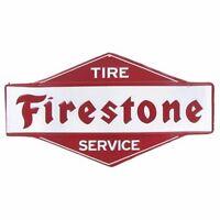 Firestone Tire Embossed Advertising Vintage Style Metal Signs Man Cave Oil