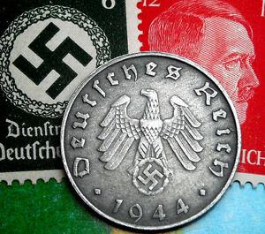 D-DAY 1944-B WW2 NAZI Germany 10 Reichspfennig SWASTIKA Coin / Hitler Stamp LOT