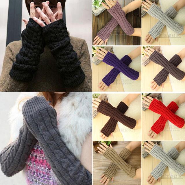 Fashion Women Men's Gloves Arm Warmer Long Fingerless knit Mitten Winter Unisex