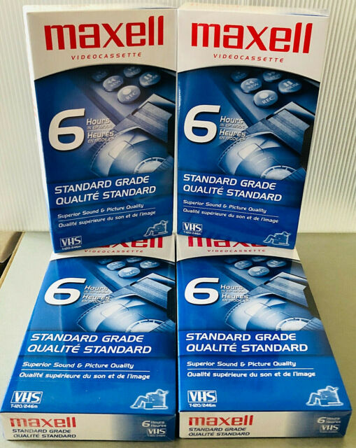 New Sealed  4 BLANK MAXELL VHS VCR 6hr TAPE SET  STANDARD GRADE SUPERIOR QUALITY