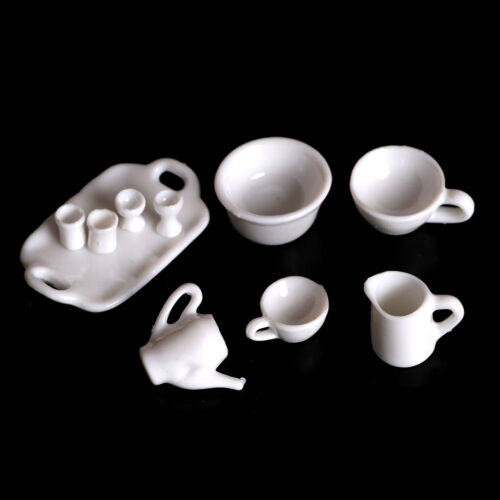 10pcs Dollhouse Miniature Dining Ware Tea Set Dish Cup Plate JM