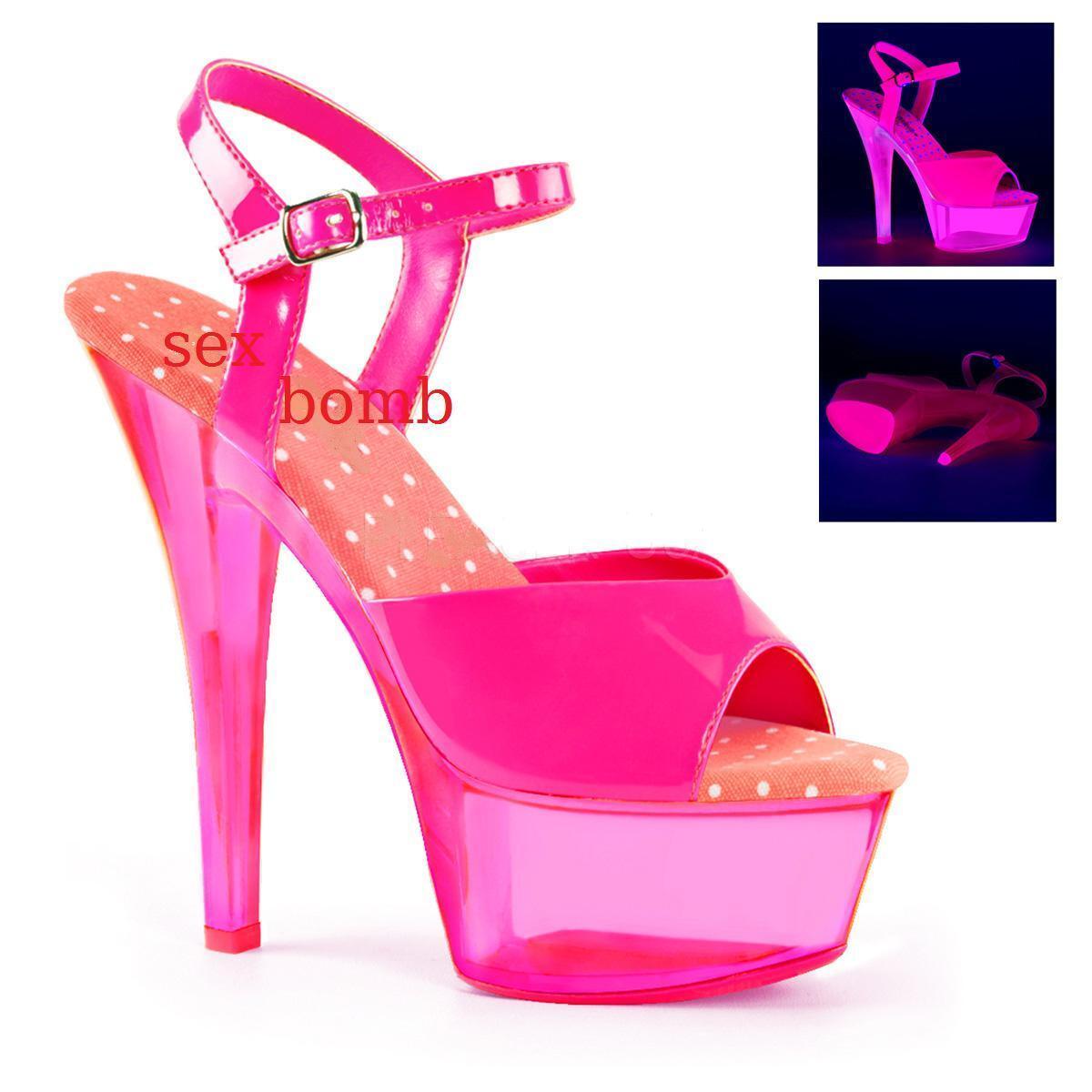 Sexy SANDALI tacco 15 dal 35 al 42 fluorescenti pink ACCESO UV plateau DISCO
