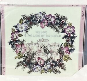 Counted-Cross-Stitch-Kit-CANDLE-WREATH-Janlynn-14-Ct-Fabric-Vintage