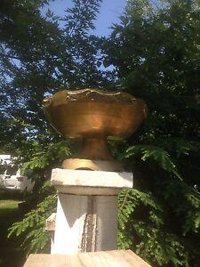 Vintage  Brass Pedestal Bowl Chalice Unique Metal Planter Decorative Vase