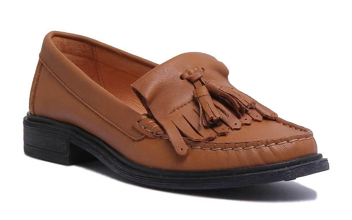 Justin Reece Samantha Women Leather Matt Camel Loafers