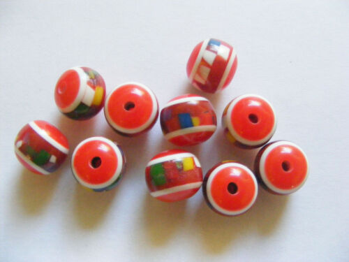 10 Round Acrylic// Resin Beads 12mm x 10mm Red