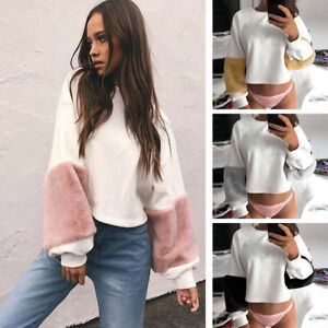 Fashion Women Casual Plush Long Sleeve Loose O Neck Velvet Pullover