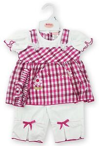 Baby-Girls-Top-Dress-amp-Trousers-with-Bows-amp-Headband-Summer-Set-Oufit