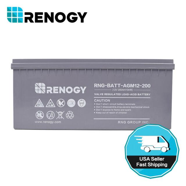 30e7752546d Renogy 200Ah 12V AGM Battery VRLA Sealed Deep Cycle Battery Solar Energy  Storage