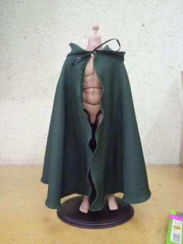 """1:6 scala verde fatto a mano Mantello Con Cappuccio Mantello a 12/"""" PH HT figura maschile Corpo"""