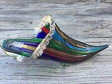 Vintage Murano Italy Art Glass Shoe Slipper Gold Flecked Red Green Blue Pretty!