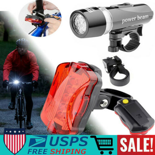 5LED USB Rechargeable Bike Lights Set Headlight Taillight Caution Bicycle Light