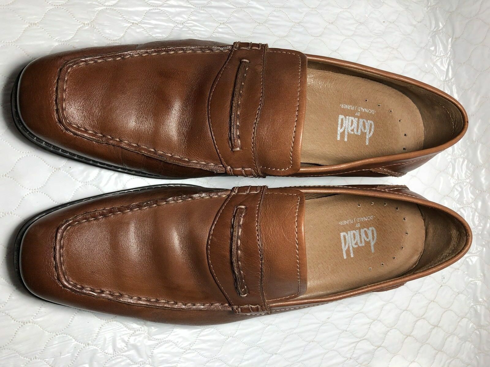 Donald Pliner Men's Oxford 6161 Penny Loafers shoes Brown Size-10.5 M