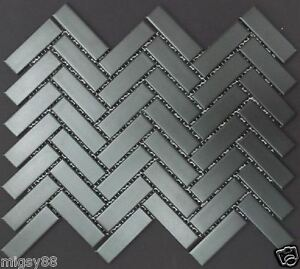 Image Is Loading Herring Bone Black Or White Herringbone Mosaic Tile