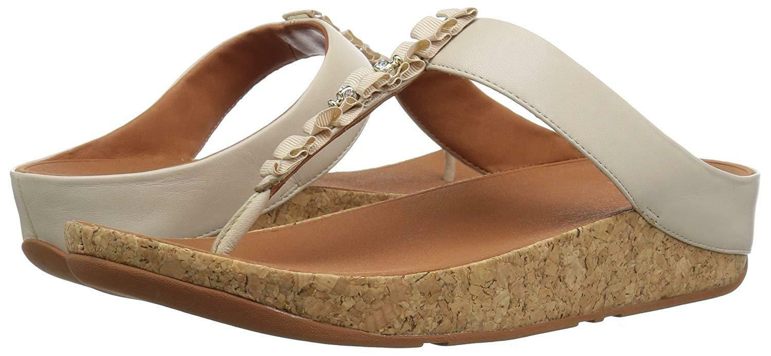 NEW Sz7US FITFLOP WOMEN Sz7US NEW RUFFLE TOE-THONG JEWELS LEATHER SANDALS CREAM 0270fe