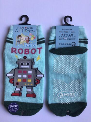 Socks Robot Boy AntiSkid Blue Gray Brown Green Yellow Shoe Size 8-10 NEW