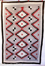 "Navajo Indian Rug 6'3""x4'5"" with Diamond Motif c.1930 Handspun Wool Traditional"