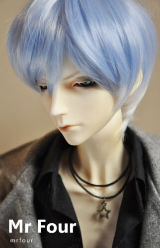NEW 1//3 BJD SD Doll 8-9inch 21.5-23cm Doll Head Light Water Blue Fur Wig Dollfie