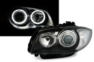Angel-Eyes-Scheinwerfer-BMW-E81-E82-E87-E88-04-11-1er-LED-Ringe-Schwarz-LHD-RHD