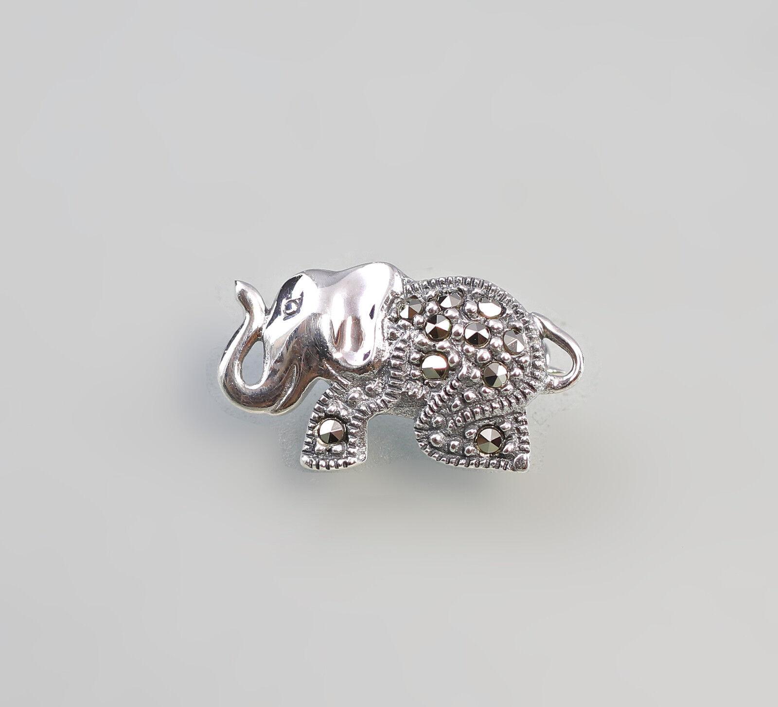 925er Pendentif En silver Broche Éléphant Marcasites 9927496