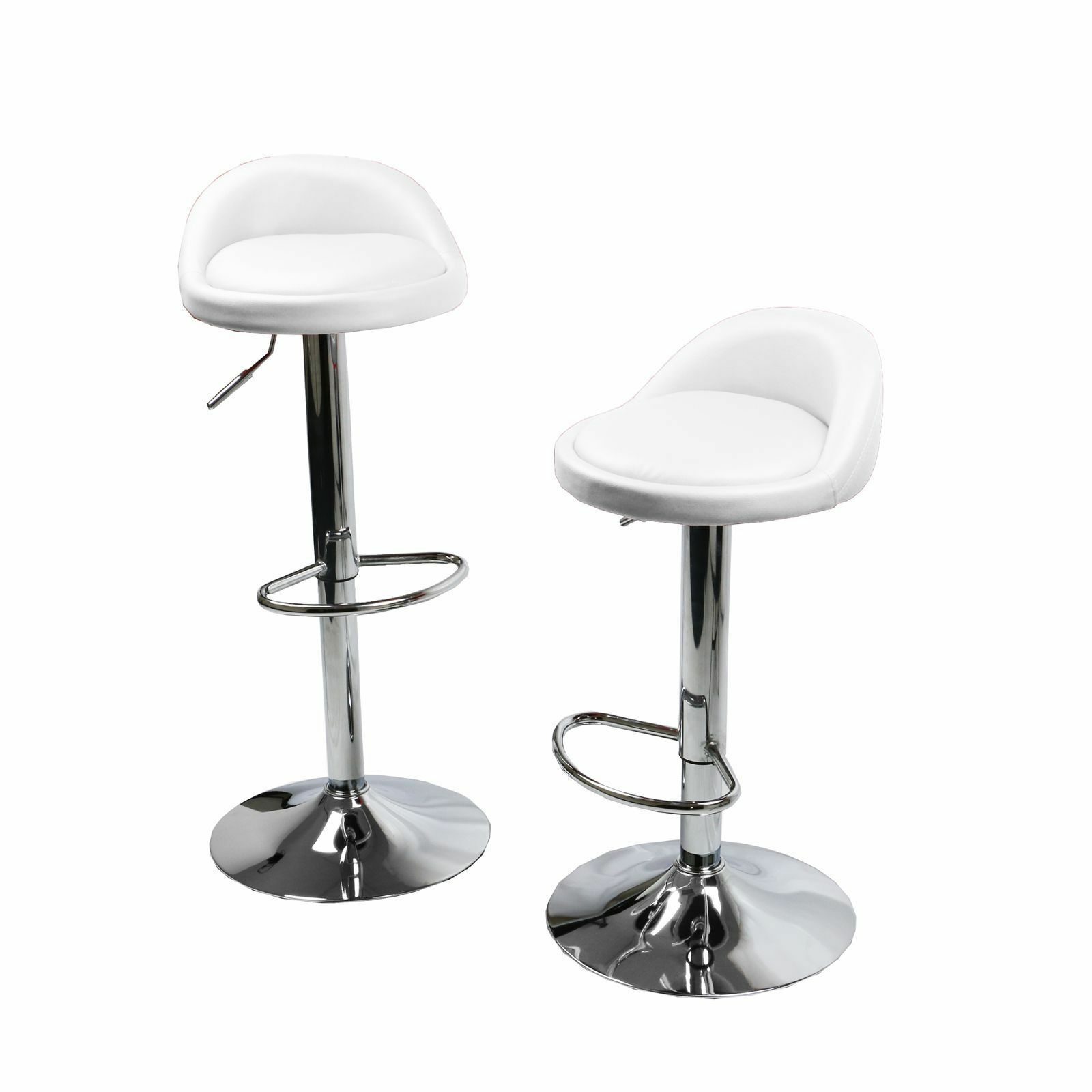Set Of 2 White Leather Bar Stools Swivel Dinning Counter