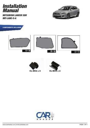 lunotto pannelli frontali posteriori Protezione SOLARE MITSUBISHI LANCER 5-PORTE anno 09-