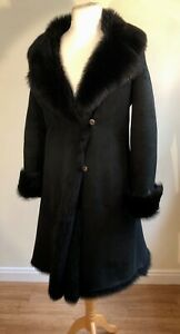 LADIES-BLACK-SUEDE-SHEARLING-MID-LENGTH-COAT-NWOT-SIZE-14-WINTER-MUST-HAVE
