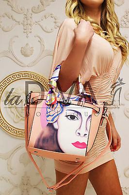 Henkel Tasche ~POP ART~ mit Satintuch rosa pink blau Modern Art Bag Leder Optik