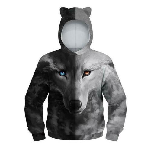 Kids Girl Boy 3D Print Hoodie Pullover Top Sweatshirt Winter Warm Jumper Sweater